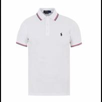 Ralph Lauren - Polo Custom- Fit Blanc A Liseres Taille M