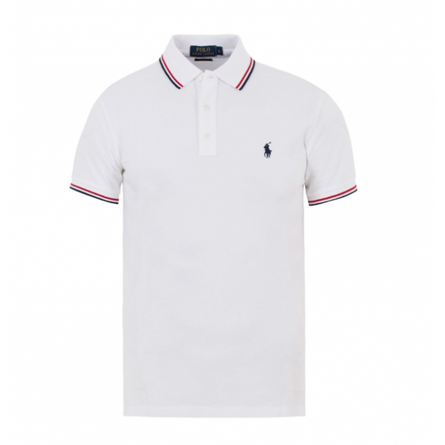 Ralph Lauren - Polo Custom- Fit Blanc A Liseres Taille L - pas cher Achat    Vente Polo homme - RueDuCommerce b20262c5055e