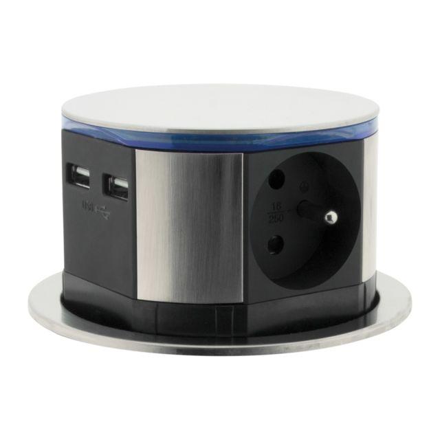Otio Bloc Multiprise Escamotable 3 Prises 16A 2P+T et 2 Prises Chargeurs USB