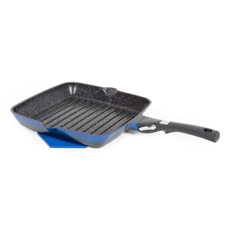 Poêle grill carrée 28cm poignée amovible bleu - Grand Cru Qualité Pro