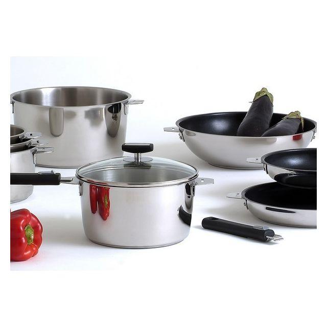 Couzon - Série de 4 casseroles 14,16,18 et 20 cm + 1 poignée Noire Promotion - 40 -malice par