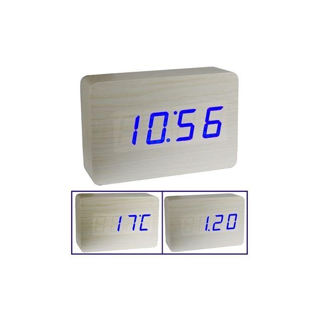 be771b8b0d Wewoo Réveil digitale blanc Horloge en bois 3 en 1 possibilité d'afficher  l'heure, le mois et la date la température pas cher - Achat / Vente Radio -  ...