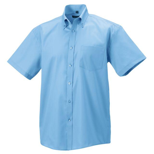 RUSSEL Russell - Chemise à manches courtes sans repassage - Homme Tour de cou 37cm, Bleu pâle Utbc1037