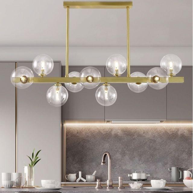 Lampe Suspendue Luminaire Salon Cuivre Moderne Creatif Restaurant Simple Eclairage De Haricot Magique Boule Verre Cafe Bar 10 Tetes