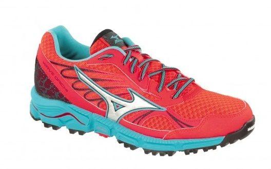 Mizuno wave daichi orange fluo et bleu chaussures de <strong>trail</strong> femme