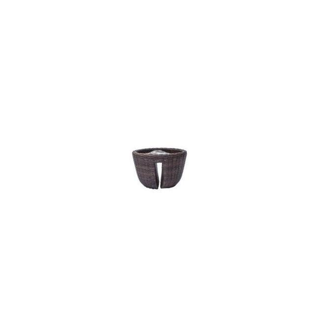JARDINIERE - BAC A FLEUR Balconniere en résine tressée - 40 x 40 x 25 cm - Marron naturel