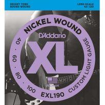 D'ADDARIO - Jeu de cordes basse électrique 4 cordes diapason long 40-100 - Exl190