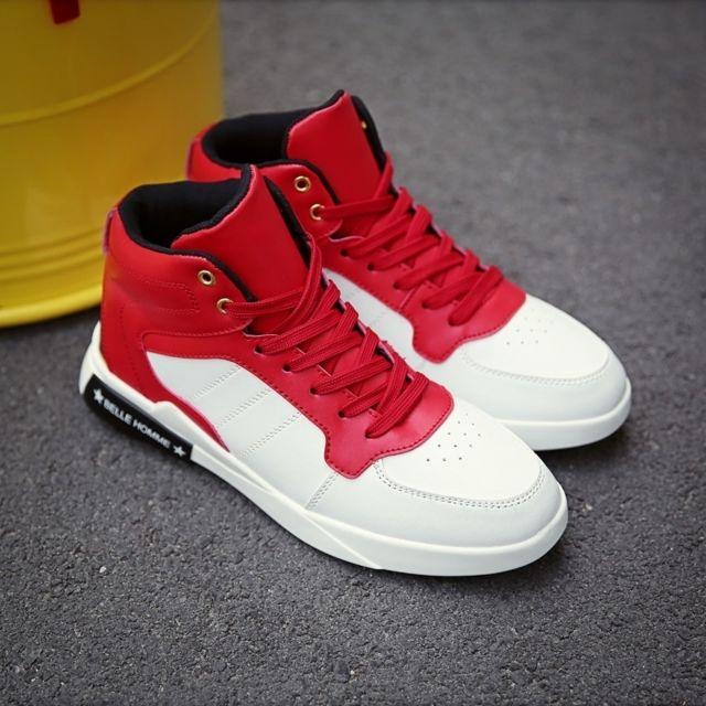 Chaussures Tête ronde confortable et décontractée de ville montantes pour hommes Couleur: Blanc Rouge Taille: 39