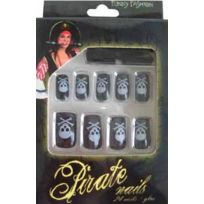 Funny fashion - Faux Ongles Noirs - Motifs Pirate