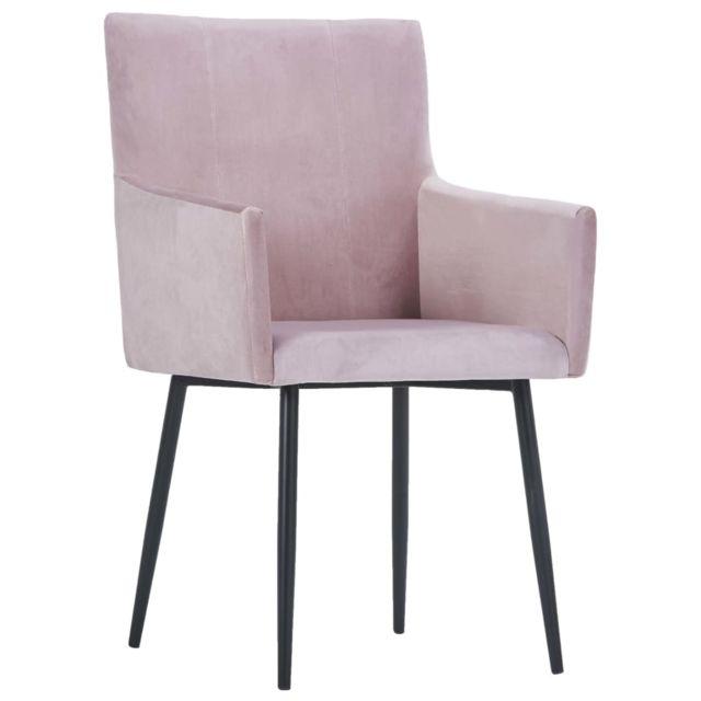 Chaises de cuisine reference Chaises de salle à manger avec accoudoirs 4 pcs Rose Velours