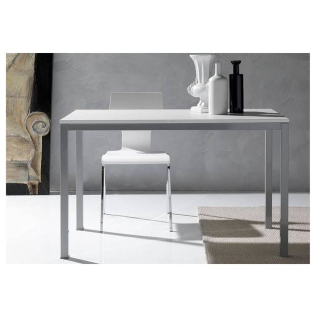 Inside 75 Table repas Kerwiin design blanc 140 cm