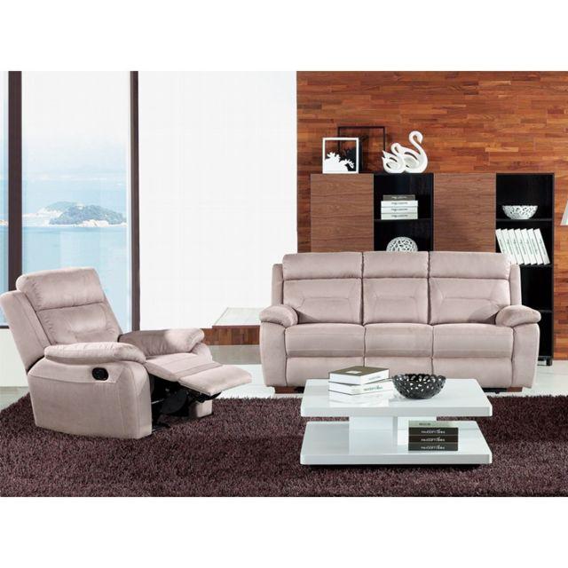 Nos packs de l expert. Tousmesmeubles - Canapé 3P + Fauteuil Relax  électrique - Accio 31015b5c92ce