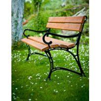 Garden - Banc de jardin en bois couleur teck et aluminium 180 cm avec accoudoirs