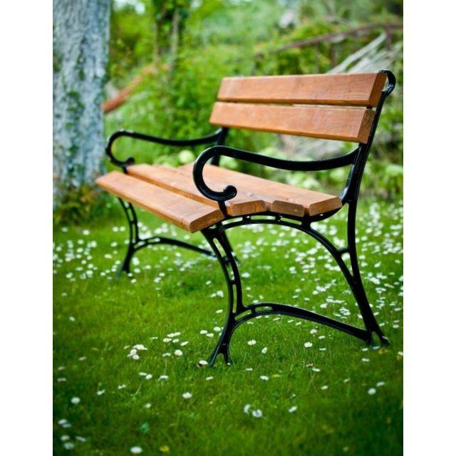 Garden Banc de jardin en bois couleur teck et aluminium 150cm avec accoudoirs
