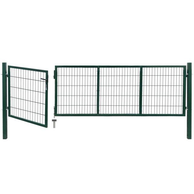 Icaverne - Portillons gamme Portail de clôture de jardin avec poteaux  350x100 cm Acier Vert