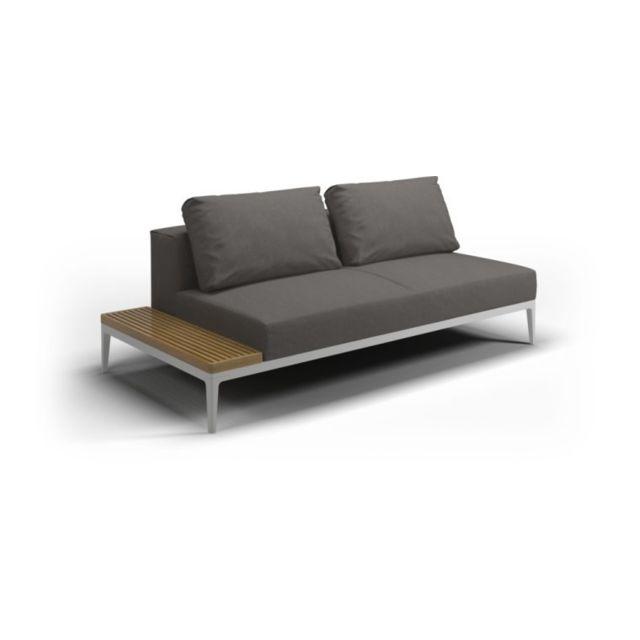 Gloster Canapé et table Grid - acier époxy blanc - granite