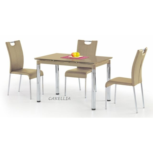 Carellia Table a manger rectangulaire extensible - L : 110 ÷170 x p : 74 cm x h : 76 cm