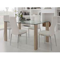 marque generique table manger en verre avec pied bois longueur 150cm grays - Table En Verre Salle A Manger