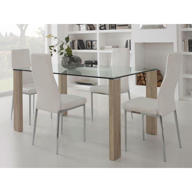 Marque generique table manger en verre avec pied bois longueur 150cm grays marron 0cm x for Carrefour table a manger