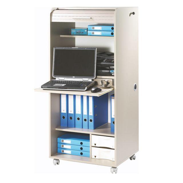 Marque Generique - Bureau informatique en bois avec rideau et roulettes Longueur 65.2 cm Orga - Taupe Nc - 0cm x 0cm x 0cm