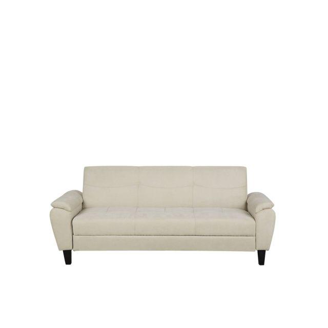 BELIANI Canapé-lit en tissu beige HALMSTAD - noir