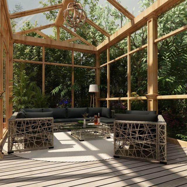 Vidaxl Salon de jardin 10 pcs avec coussins Résine tressée Gris