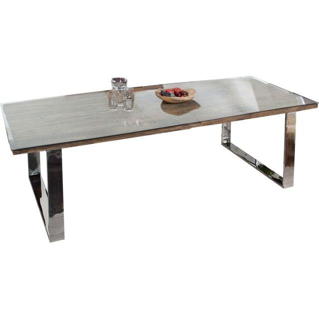 Comforium Table de salle à manger design en bois et métal coloris naturel