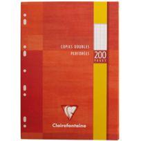 Clairefontaine - copie double blanche a4 grand carreaux 90g perforee - etui de 50