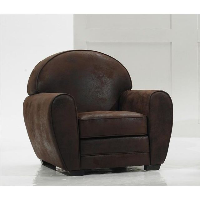 Inside 75 Fauteuil Club marron vintage microfibre. Made In Italy