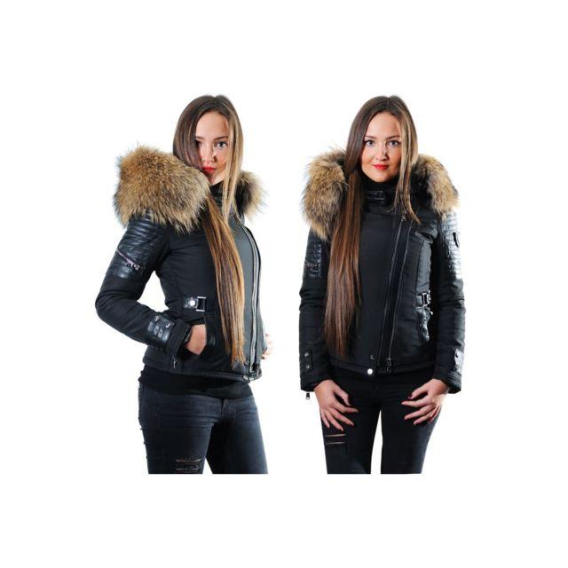 ventiuno belucci veste doudoune perfecto fourrure v ritable taille max cuir d 39 agneau. Black Bedroom Furniture Sets. Home Design Ideas