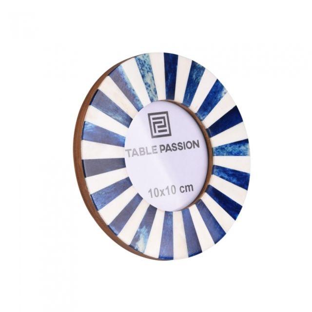 TABLE PASSION Cadre photo 10x10 cm rond blanc et bleu