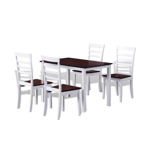 Rocambolesk Superbe Set table et 4 chaises marron/blanc en bois massif neuf