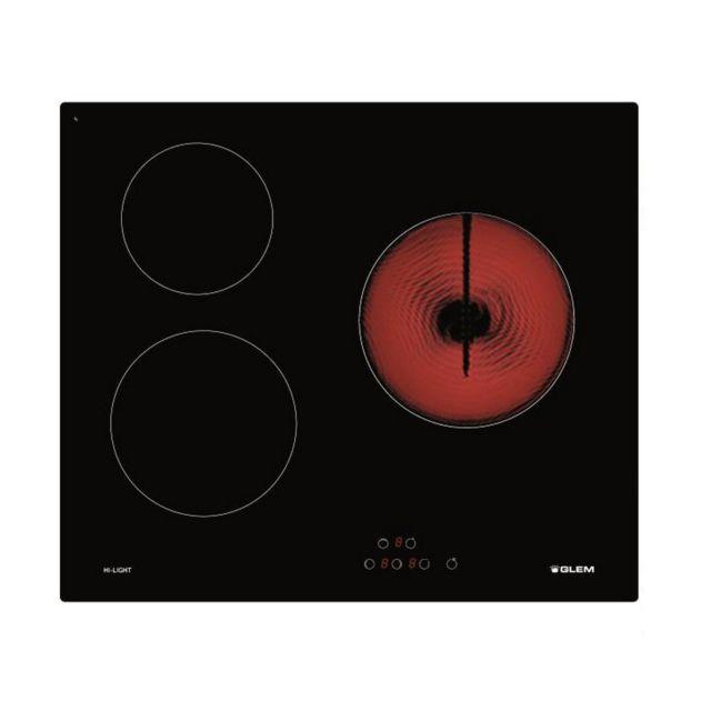 Glem Table De Cuisson Vitroceramique 59cm 3 Feux 5300w Noir