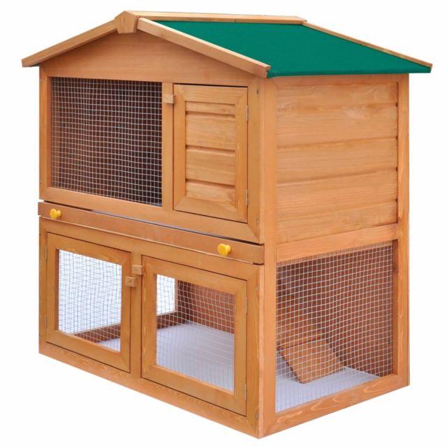 Vidaxl Clapier d'extérieur Enclos pour petits animaux 3 portes Bois