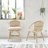 Bois Dessus Bois Dessous - Lot de 2 fauteuils en rotin vintage