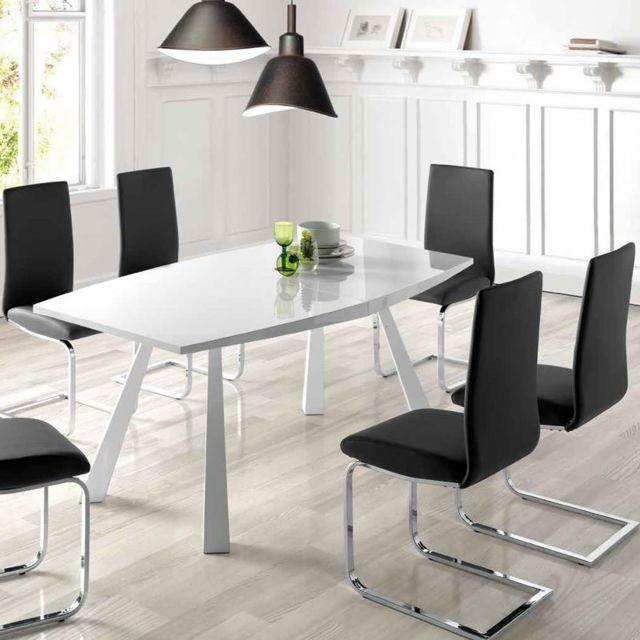 Nouvomeuble Table avec rallonge blanc laqué design Achille