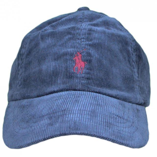 193241e88ea Ralph Lauren - Casquette en velour bleu marine logo rouge bordeaux pour  homme Taille unique - pas cher Achat   Vente Casquettes