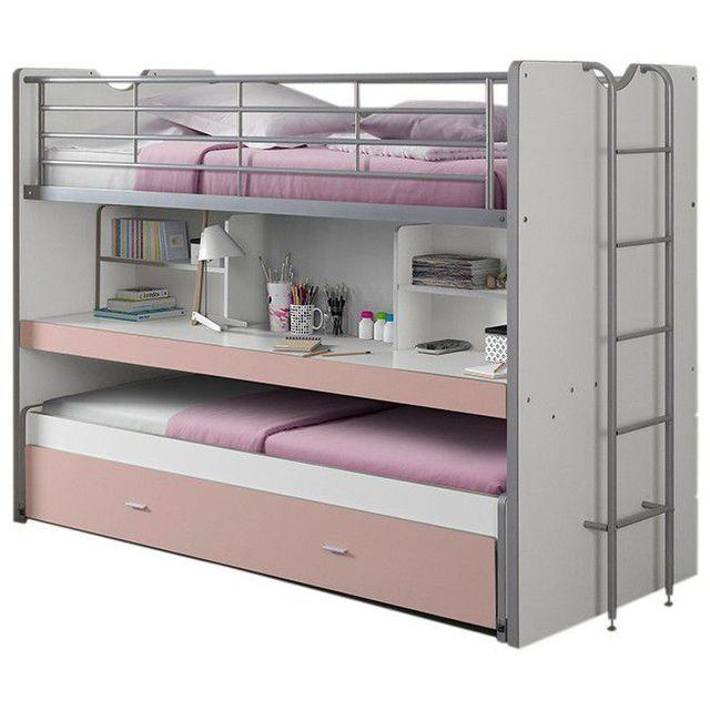 COMFORIUM   Lit Mezzanine Combiné 90x200 Cm Avec Bureau Et Tiroir Lit  Coloris Blanc Et