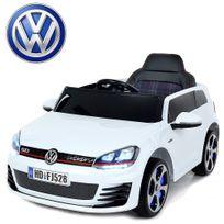 Volkswagen - Petite voiture quad électrique enfant Golf Gti 12V roues Led Blanche peinte carte Sd incluse