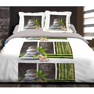 le linge de jules housse de couette 240x260 2 taies pur coton 57 fils zen relax blanc pas. Black Bedroom Furniture Sets. Home Design Ideas