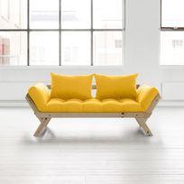 Karup - Canapé convertible en bois naturel avec matelas futon Bebop - Jaune