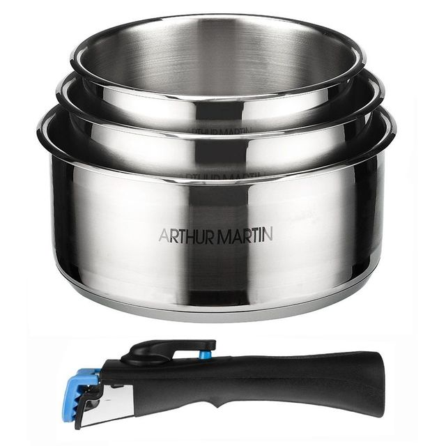 Electrolux Arthur Martin - Set de 3 casseroles 16-18-20 cm + 1 poignée