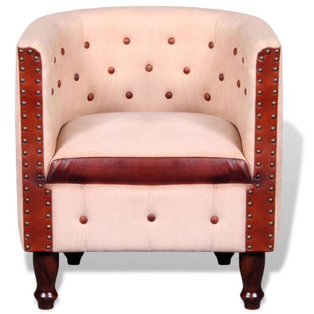 Fauteuil chaise siège lounge design club sofa salon cuir véritable 1102091/2