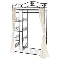 Mendler - Portemanteau Genf, garde-robe, portant, portemanteau, armoire, étagère métallique 172x100x43cm ~ avec rideau