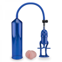 Love And Vibes - Pompe a Sexe Bleue Insert Vagin Silicone