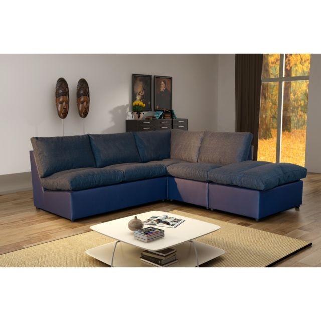 ce87b37da48e93 Modern Sofa - Canapé d angle modulable Avanti bleu marine 222cm x 80cm x  0cm - Réversible Achat   Vente Canapés pas chers - RueDuCommerce