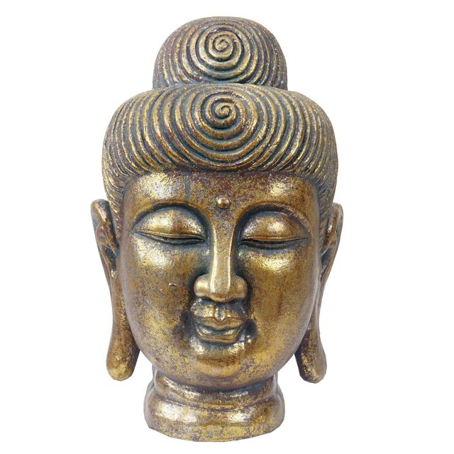 Figure De Decoration Bouddha 38cm Polyresin Sculpture Tete Interieur Plein Air Or