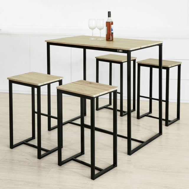 Sobuy Ogt15-N Ensemble 1 Table de Bar Bistrot + 4 Tabourets de Bar
