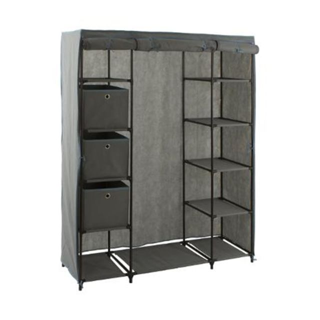 armoire 1 penderie et 10 tag res 3 boites 133 x 44 x. Black Bedroom Furniture Sets. Home Design Ideas