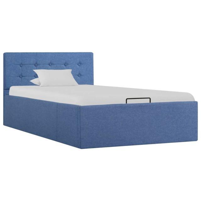 Uco Cadre de lit à stockage hydraulique Bleu Tissu 90x200 cm